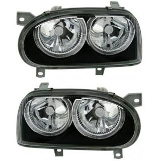 Кристални фарове за Голф 3 с ангелски очи - R32 дизайн - черни