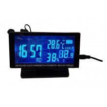 Автомобилен часовник 5 в 1 с термометър и волтметър