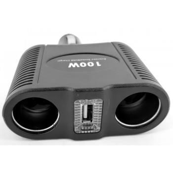 Разклонител за запалка на кола 12 / 24V с 2 гнезда и USB