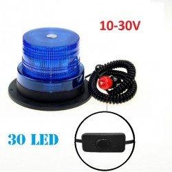 Аварийна сигнална LED лампа 12 / 24V блиц синя светлина