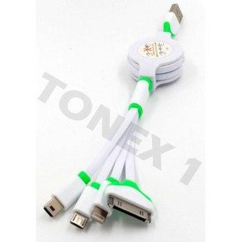 USB кабел за зареждане и прехвърляне на данни 4 в 1 прибиращ се