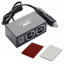 Разклонител за запалка на кола 12 / 24V с 2 гнезда и USB порт