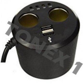 Разклонител за запалка със зарядно и волтметър 3 в 1 - 12V