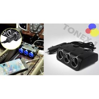Разклонител за запалка на кола 12 / 24V с 3 гнезда и 2 USB порта