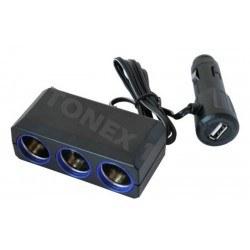 Разклонител за запалка на кола 12 / 24V с 3 гнезда и USB