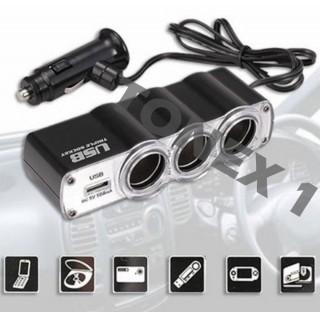 Разклонител за запалка на кола 12 / 24V с 3 гнезда и USB порт