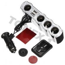 Разклонител за запалка на кола 12 / 24V с 4 гнезда и 2 USB порта