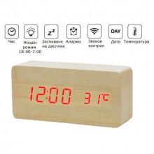 Дървен часовник с термометър