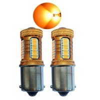 Диодна крушка (LED крушка) 12V, P21W, BA15s, блистер 2бр. оранжева светлина