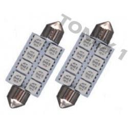 Диодна крушка (LED крушка) 24V, C5W, SV8.5, 41мм, синя светлина, блистер 2 бр.