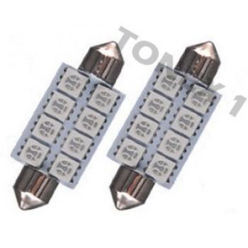 Диодна крушка (LED крушка) 24V, C5W, SV8.5, 41мм, червена светлина, блистер 2 бр.