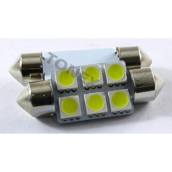 Диодна крушка (LED крушка) 24V, C5W, SV8.5, 36мм, блистер 2 бр.