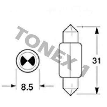 Диодна крушка (LED крушка) 12V, C5W, SV8.5, 31мм, блистер 2 бр.