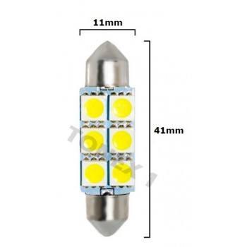 Диодна крушка (LED крушка) 12V, C5W, SV8.5, 41мм, блистер 2 бр.