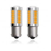 Диодна крушка (LED крушка) 12V, PY21W, BAU15s, жълта светлина
