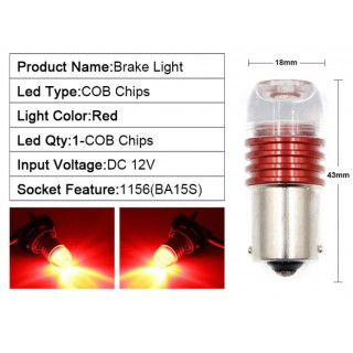 Диодна крушка (LED крушка) 12V, P21W, BA15s, червена светлина 1бр