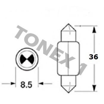 Диодна крушка (LED крушка) 12V, C5W, SV8.5, 36мм, блистер 2 бр.
