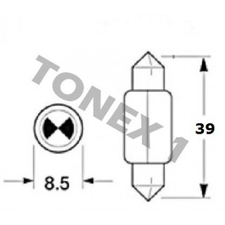 Диодна крушка (LED крушка) 12V, C5W, SV8.5, 39мм, блистер 2 бр.