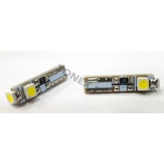 Диодна крушка (LED крушка) 12V, W1.2W, T5, W2x6.4d, Canbus, блистер 2 бр. синя,червена, бяла