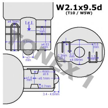 Диодна крушка (LED крушка) 12V, W5W, T10, W2.1x9.5d, блистер 2 бр.