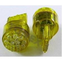 Диодна крушка (LED крушка) 12V, W21W, W3x16d, Жълта светлина, блистер 2 бр.