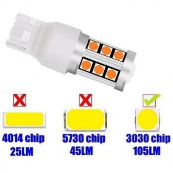 Диодна крушка (LED крушка) 12V, WY21W, W3x16d, Жълта светлина 1 бр.