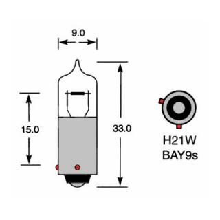 Крушка 12V, HY21W, 21W, BAY9s