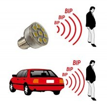 Диодна крушка (LED крушка) 12V, P21W, BA15s със звукова сигнализация