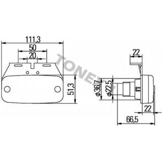 Диоден (LED) габарит 111х51мм универсален 24V