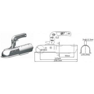 Лапа за ремарке / ключалка за теглич / 750кг SPP ZSK-750D