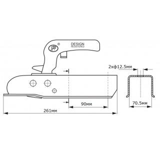 Лапа за ремарке / ключалка за теглич / 750кг SPP ZSK-750J
