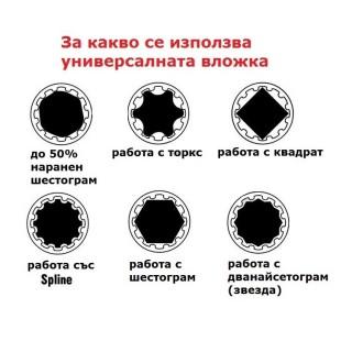 Комплект универсални вложки звезда 1/2'' 13 части